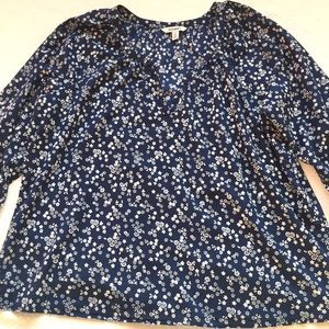 Old Navy  XXL Split Neck Top Blouse Shirt Navy